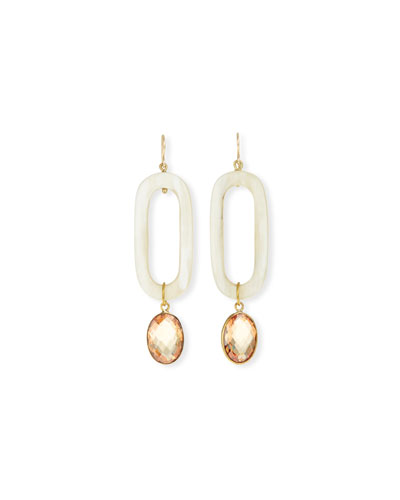 Ashley Pittman Light Horn & Zircon Drop Earrings