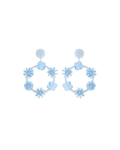 Flower Hoop Drop Earrings