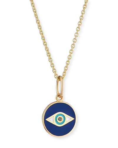 14k Black Diamond & Enamel Evil Eye Pendant Necklace
