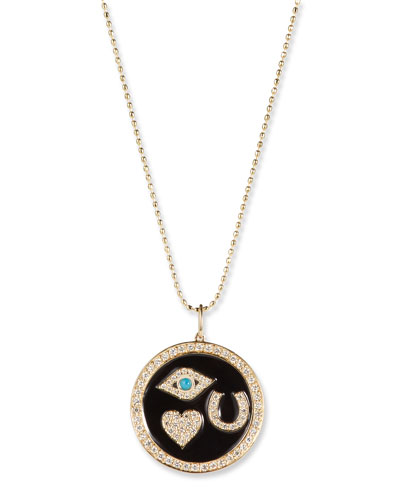 14k Gold Diamond & Enamel Luck Medallion Necklace