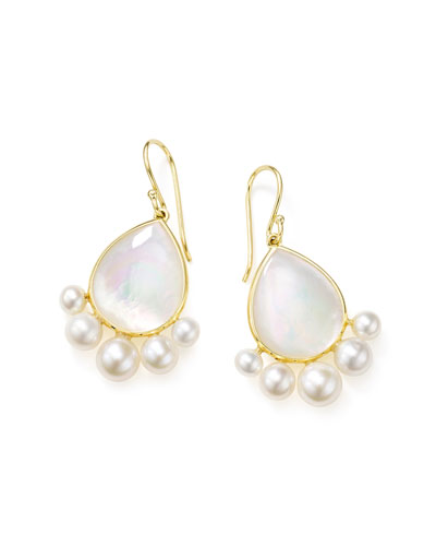 Nova 18k Gold Pear Drop Earrings w/ Pearls
