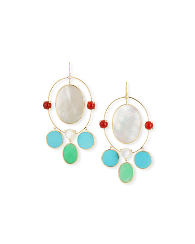 Nova 18k Gold Large Oval Orbit Earrings in Riviera Sky