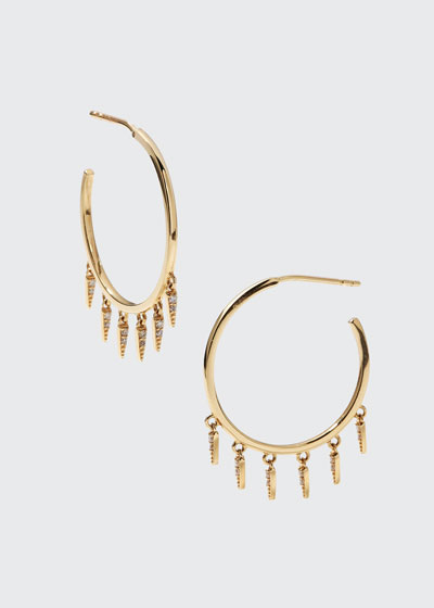 14k Medium Diamond Fringe Hoop Earrings