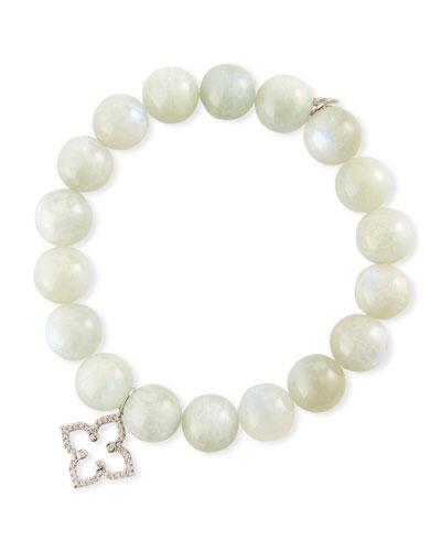 14k Diamond Moroccan Flower & Moonstone Bracelet