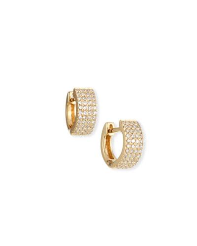 14k Gold Jumbo Diamond Huggie Earrings