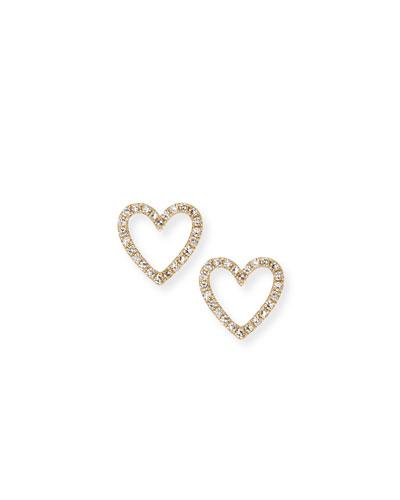 14k Gold Diamond Open-Heart Stud Earrings