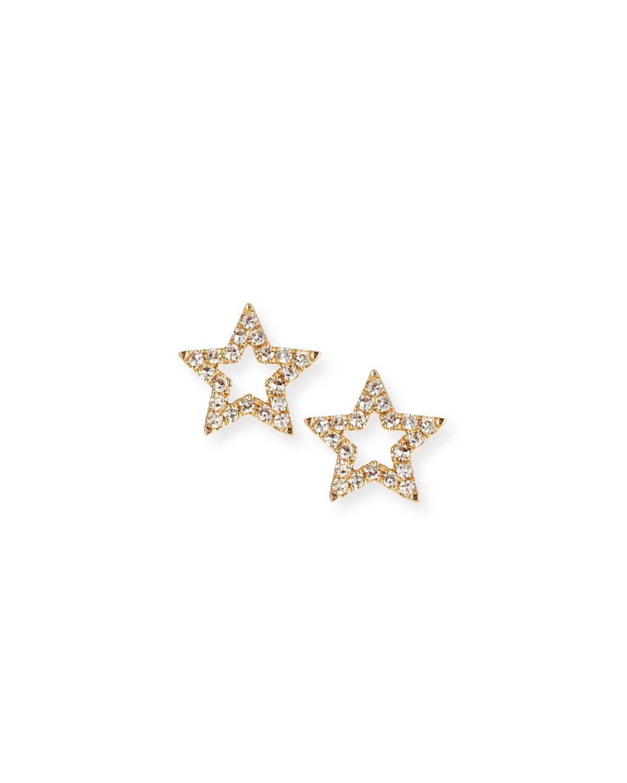 14K Gold Diamond Open-Star Stud Earrings, Yellow Gold