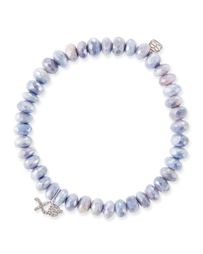 14k White Gold Diamond XO & Lavender Moonstone Bracelet