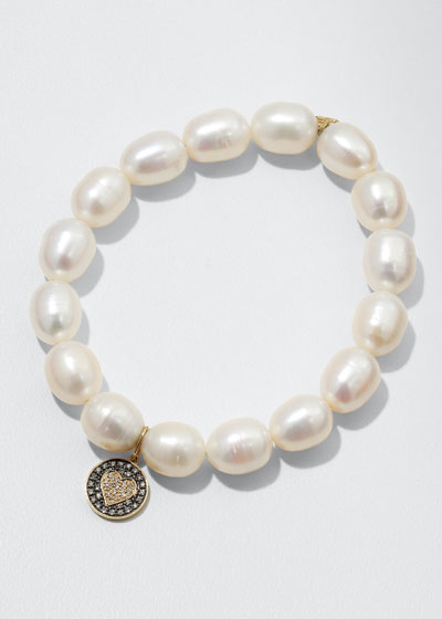 9mm Pearl & Diamond Heart Bracelet