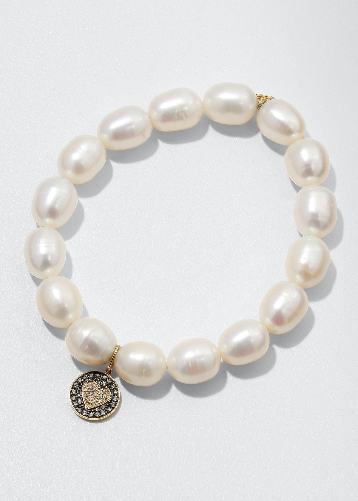 9Mm Pearl & Diamond Heart Bracelet in White