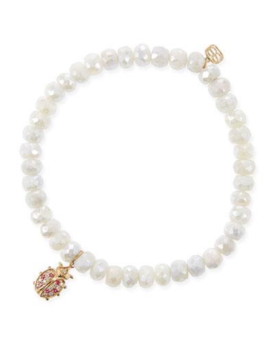 14k Quartz & Diamond Ladybug Bracelet