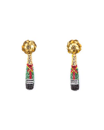 Champagne Beaded Drop Earrings
