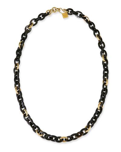 Meli Dark Horn & Bronze Link Necklace