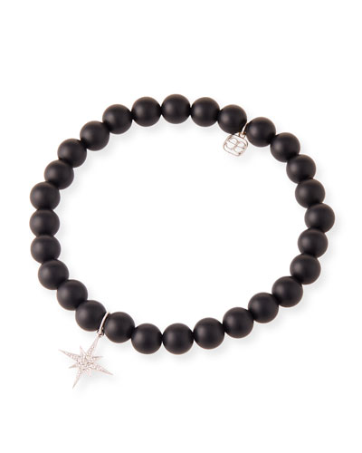 14k White Gold Diamond Starburst & Onyx Bracelet