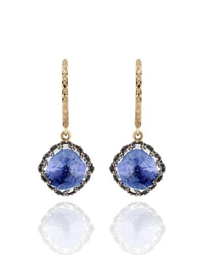 Lady Antoinette Cushion Drop Huggie Earrings, Cobalt