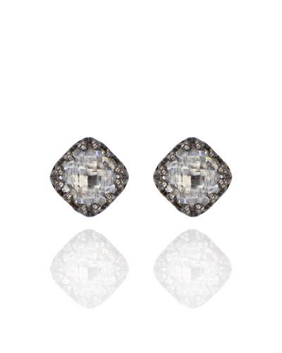 Jane Small Button Earrings in Dove