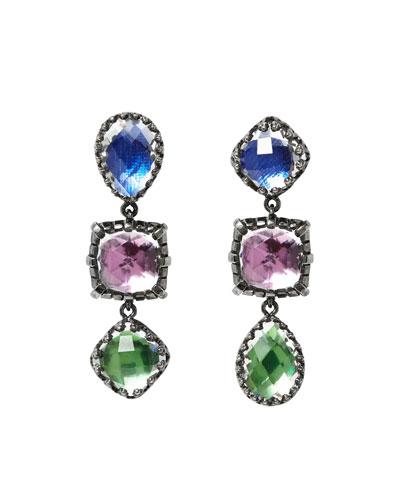 Sadie Triple-Drop Earrings with Multi-Crazy Foil