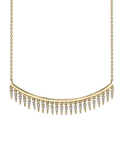 14k Diamond Fringe Drop Bar Necklace