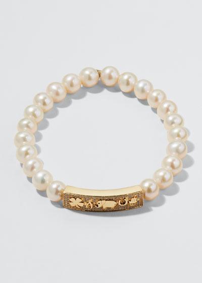 14k Diamond & Pearl Luck Tableau Bracelet