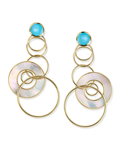 18K Polished Rock Candy Medium Jet Set Earrings in Turquoise & Mother-of-Pearl