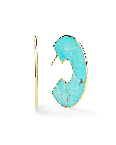 18K Polished Rock Candy Cutout Donut Slice Earrings, Turquoise