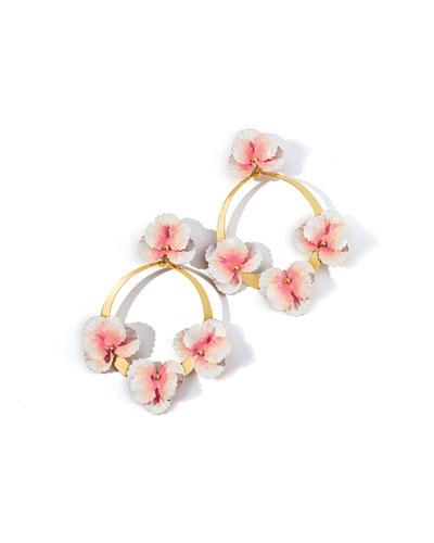 Voleta Floral Hoop-Drop Earrings, Blush