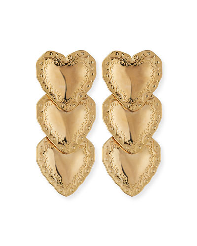 Heart Drop Earrings, Gold
