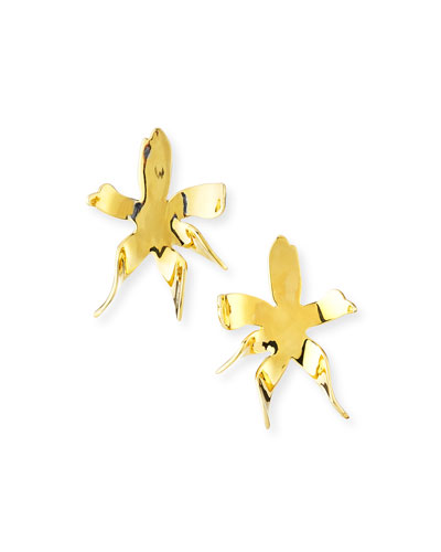 Water Lily Button Earrings, Gold