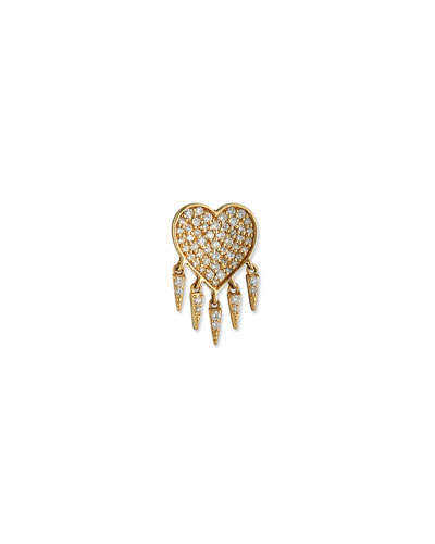Sydney Evan 14k Diamond Heart & Fringe Stud