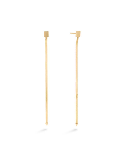 14k Gold Linear Herringbone Earrings