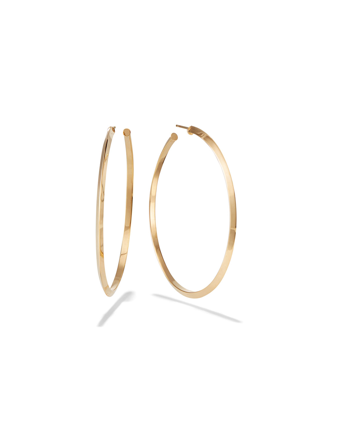 Lana  HOLLOW 14K GOLD HOOP EARRINGS W/ DIAGONAL EDGES