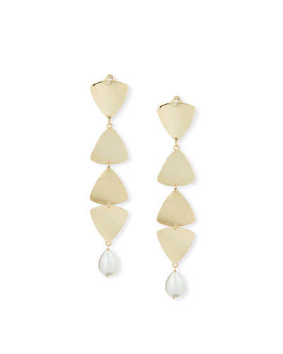 Gelo Pearl & Crystal Clip-On Dangle Earrings