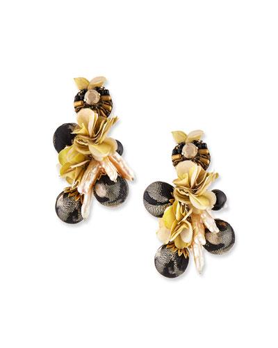 Plumeria Clip-On Drop Earrings