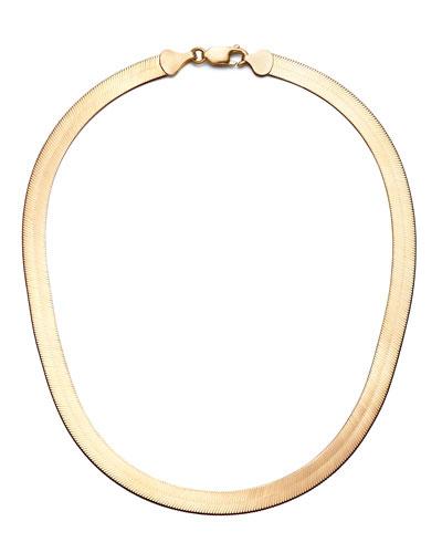 14k Gold Wide Herringbone Choker Necklace