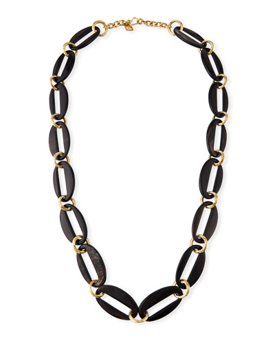 Pepo Link Necklace, Dark Brown