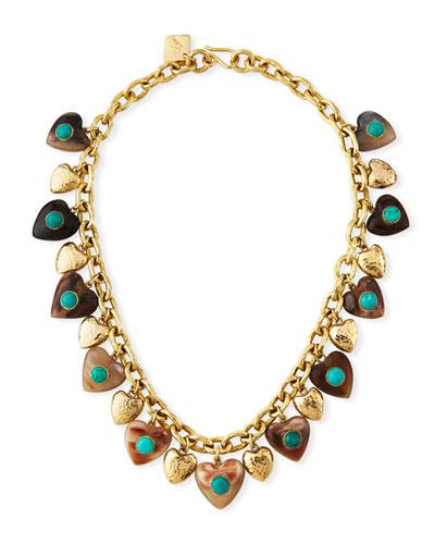 Makundi Heart-Charm Necklace w/ Turquoise