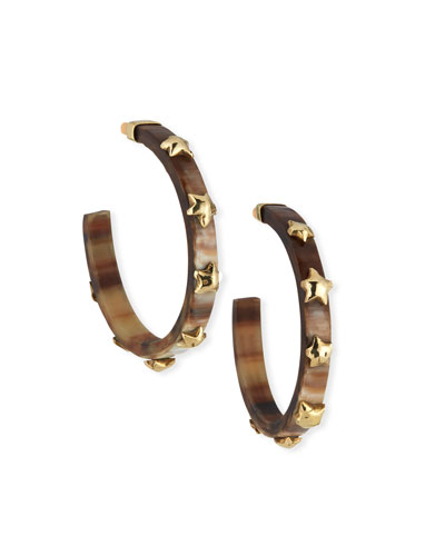 Hofu Studded Hoop Earrings in Dark Horn