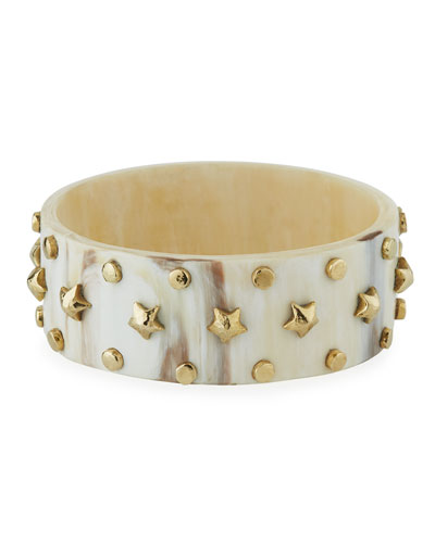 Akili Studded Bangle in Light Horn