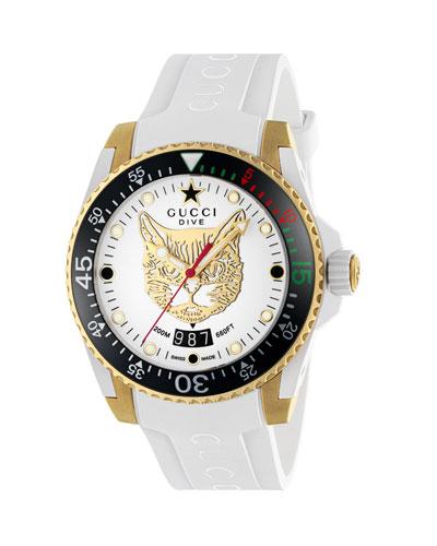 40mm Dive Watch w/ Rubber Strap, White