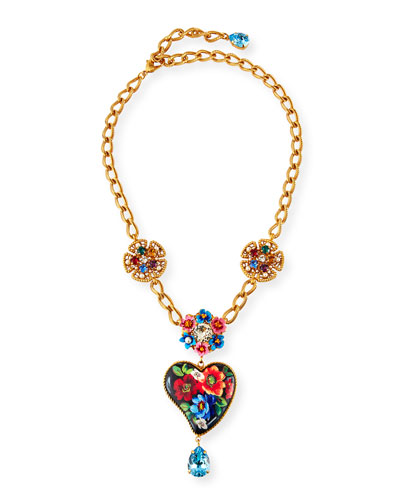 Flower & Heart-Pendant Necklace