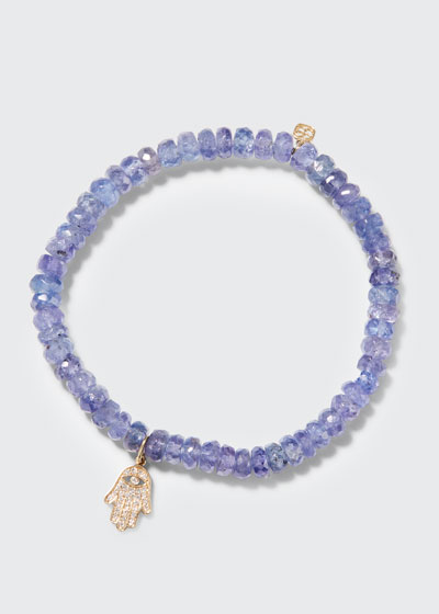 14k Diamond Hamsa & Tanzanite Bracelet