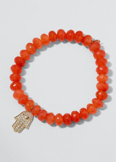 14k Medium Diamond Hamsa & Carnelian Bracelet