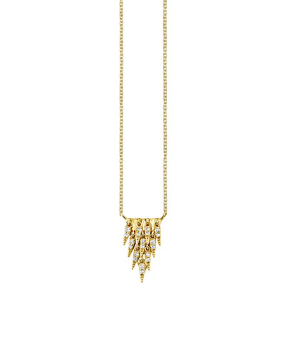 14k Cascade Fringe Pendant Necklace w/ Diamonds