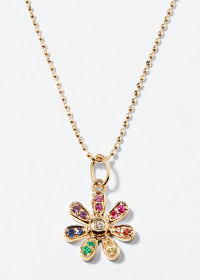 14k Rainbow Daisy Charm Necklace w/ Diamonds