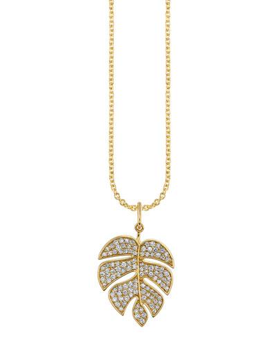 14k Diamond Monstera Leaf Charm Necklace