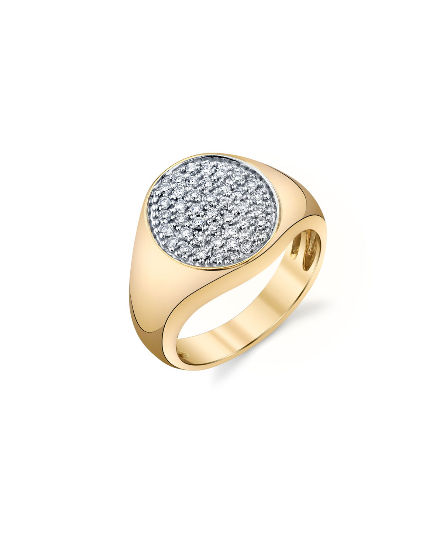 Sydney Evan Jewelry 14K SMALL ROUND DIAMOND PAVE SIGNET RING