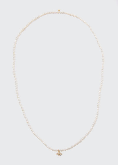 14k Diamond Evil Eye & Pearl Necklace