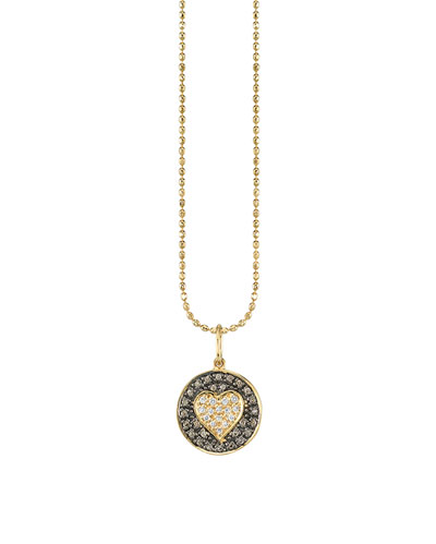 14k Two-Tone Diamond Heart Medallion Necklace