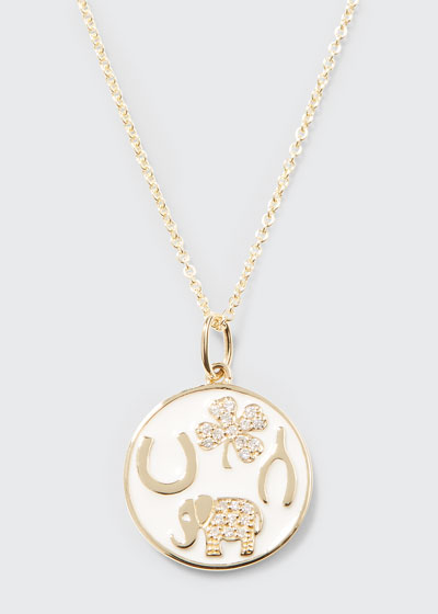 14k Luck Tableau Diamond Medallion Necklace, White