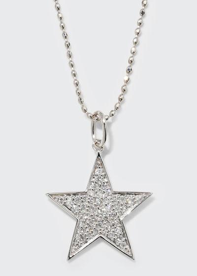 14k White Gold Medium Diamond Star Necklace
